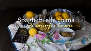 Spaghetti alla crema di carciofi e scorza di limone in ev.