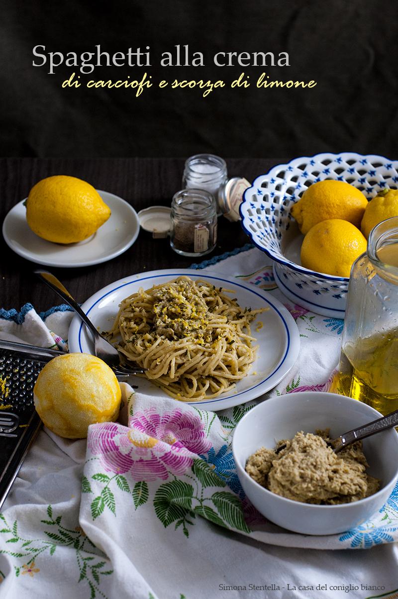 Spaghetti alla crema di carciofi e scorza di limone v1.