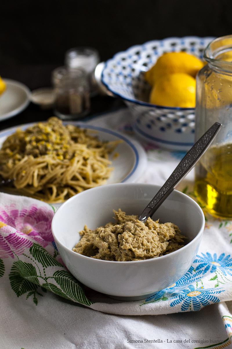 Spaghetti alla crema di carciofi e scorza di limone2