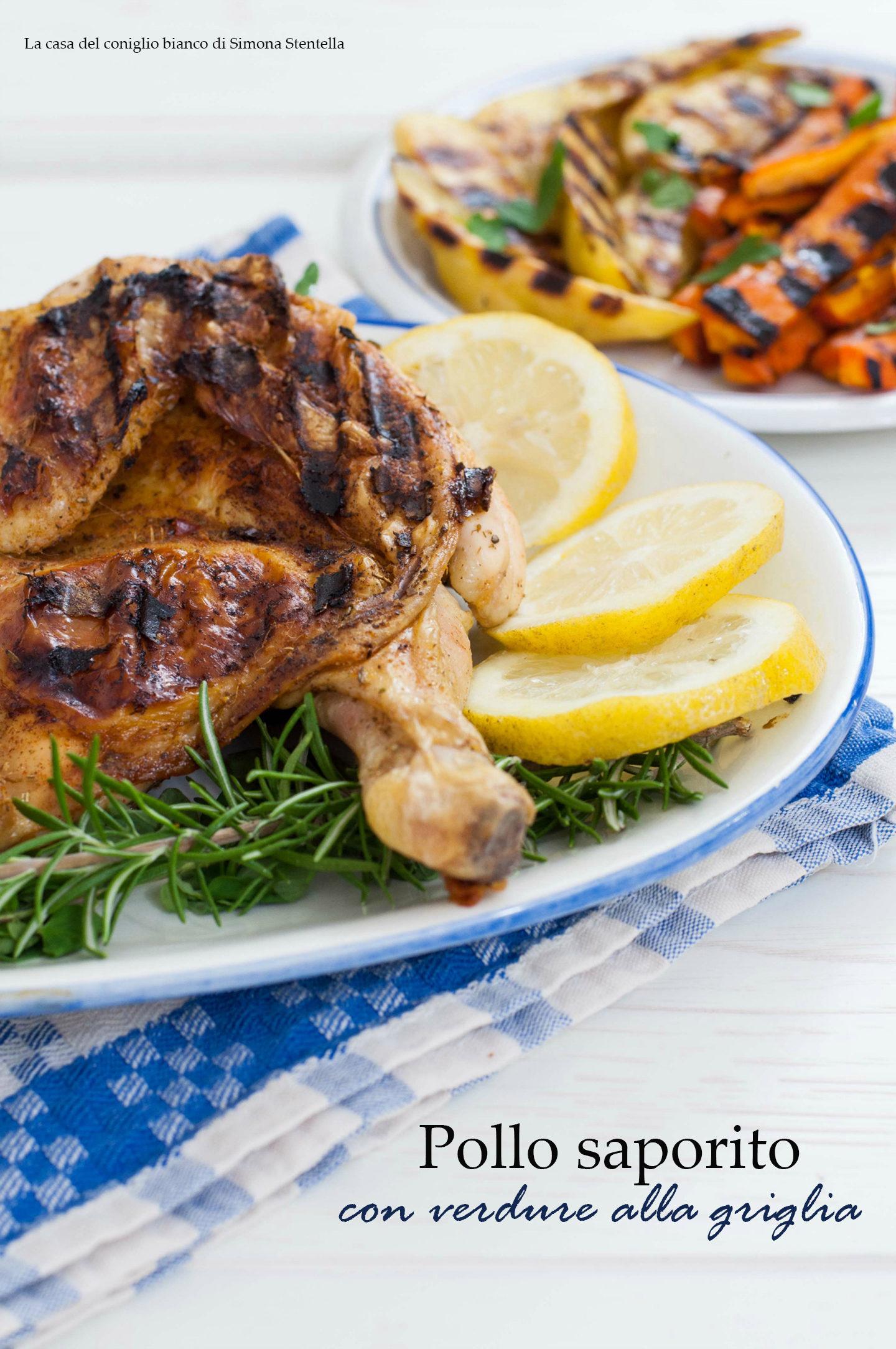 pollo saporito con verdure alla griglia